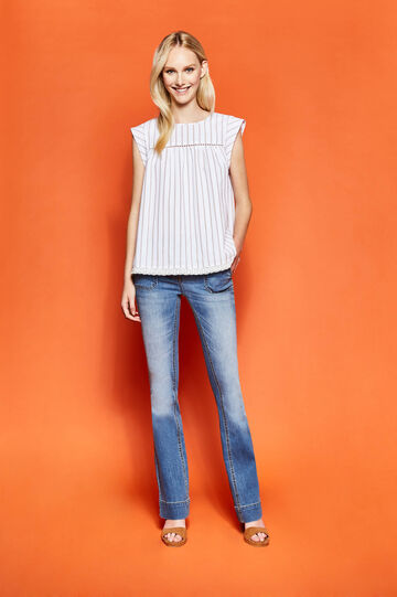 Striped blouse with openwork design