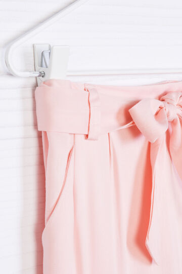 Solid colour trousers with bow, Peach Orange, hi-res