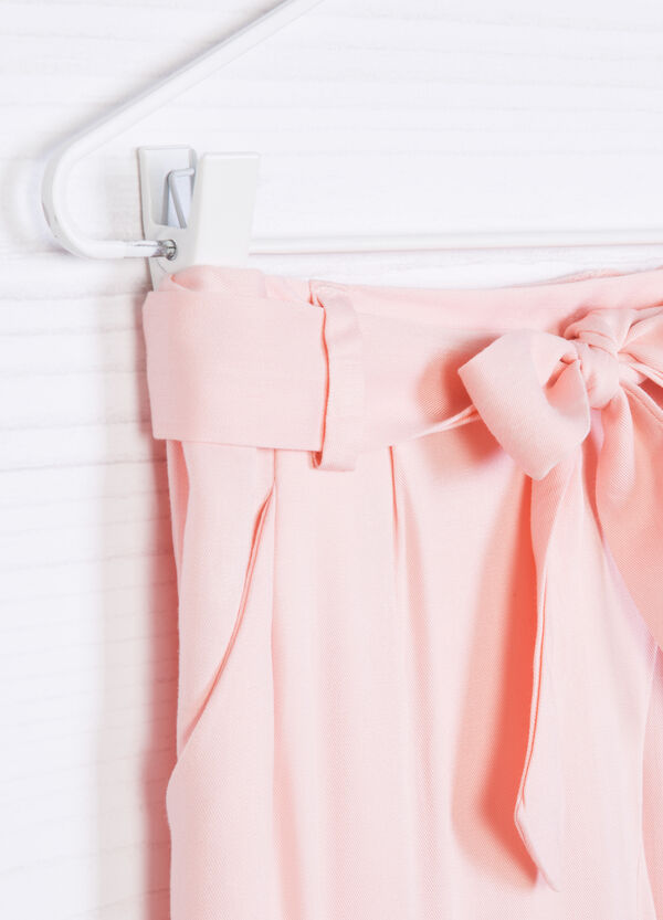 Solid colour trousers with bow | OVS