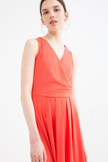 Solid colour sleeveless dress, Orange, hi-res