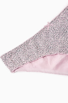 Three-pack patterned briefs in 100% cotton, Mauve, hi-res