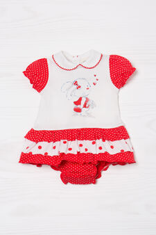 Cotton romper suit with glitter print, White/Red, hi-res