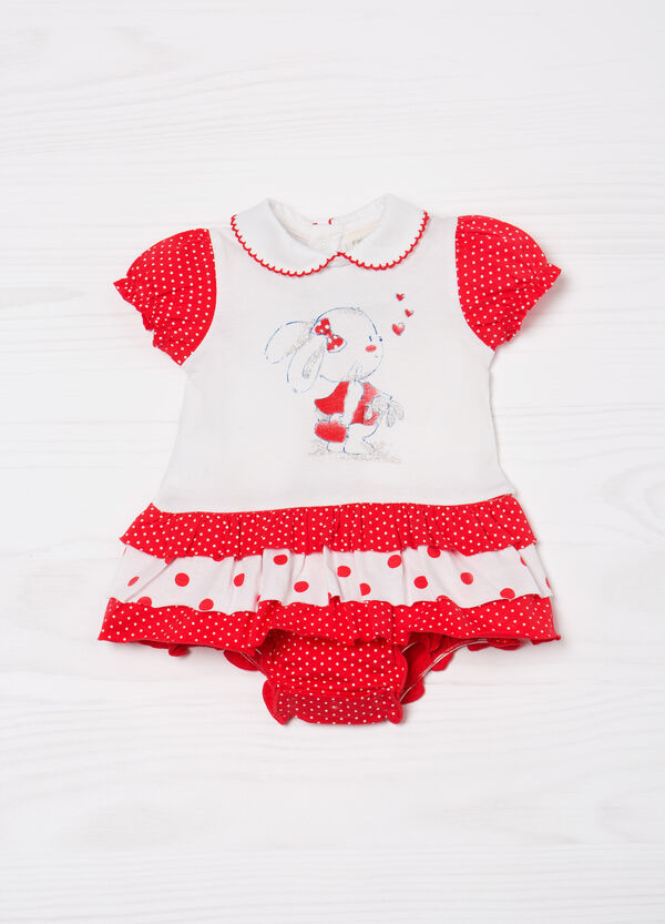 Cotton romper suit with glitter print | OVS