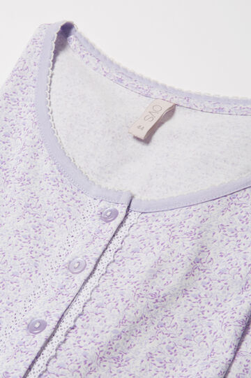 Patterned cotton nightshirt, Cream White, hi-res