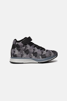 High-top sneakers with geometric theme, Black/Grey, hi-res