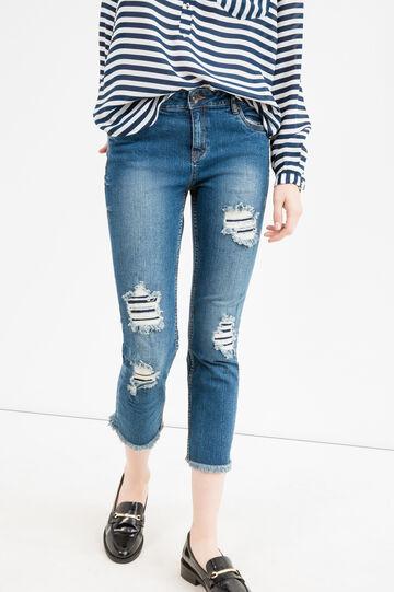 Jeans skinny fit crop con strappi, Blu denim, hi-res