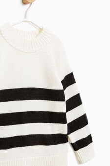 Striped pullover with side splits, White, hi-res