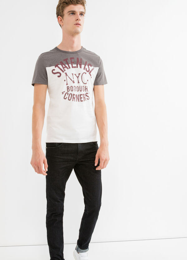 Printed lettering cotton and rayon T-shirt | OVS