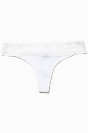 Cotton thong with lace