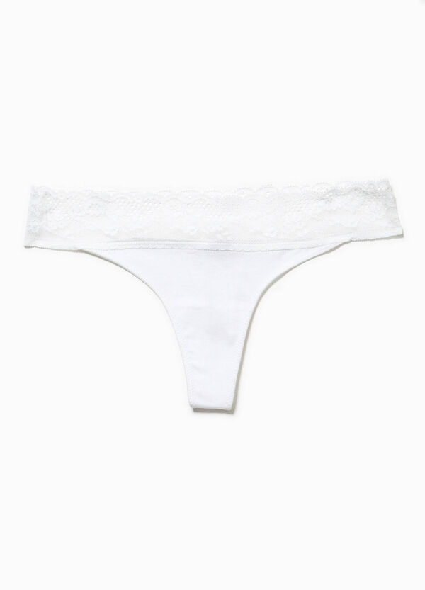 Cotton thong with lace | OVS