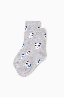 Two-pair pack stretch short socks with pattern, Multicolour, hi-res