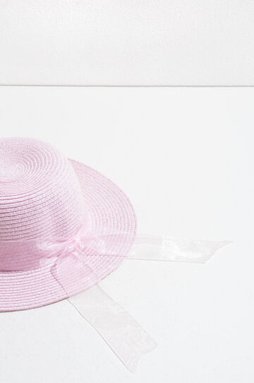 Straw hat with tulle band