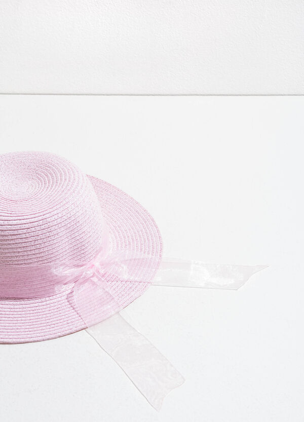 Straw hat with tulle band | OVS