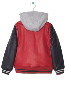 Leather jacket with fleece hood, Blue/Red, hi-res