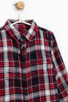 Check shirt in 100% cotton, Red, hi-res