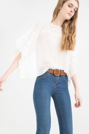 Patterned blouse with lace, White, hi-res