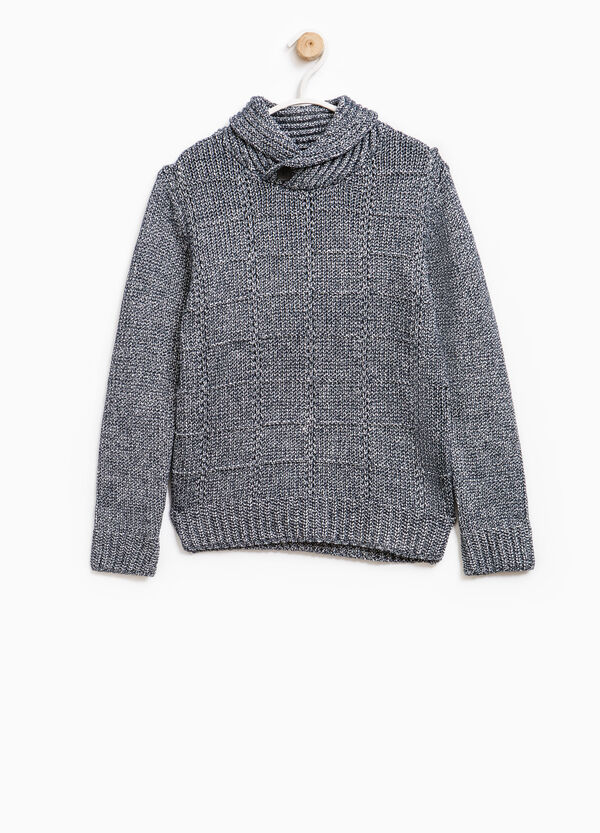 Knitted cotton pullover with high neck | OVS