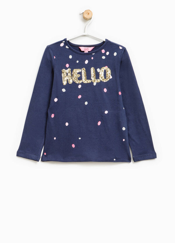 T-shirt with print, glitter and sequins | OVS