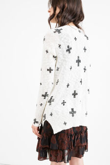 Cotton blend patterned pullover, White, hi-res