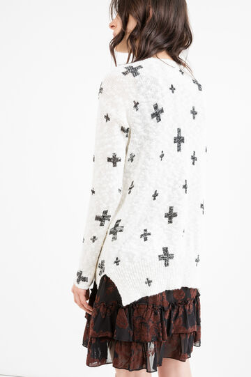 Cotton blend patterned pullover, White, hi-res