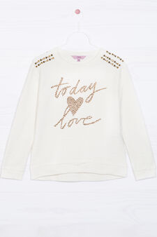Cotton blend sweatshirt with studs, White, hi-res