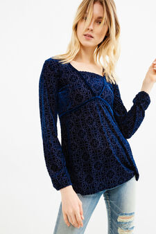 Faux layered stretch velvet T-shirt, Blue, hi-res