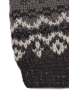 Jacquard knit beanie cap, Grey, hi-res