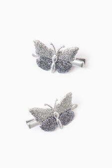 Two-pack butterfly hair clips, Grey, hi-res