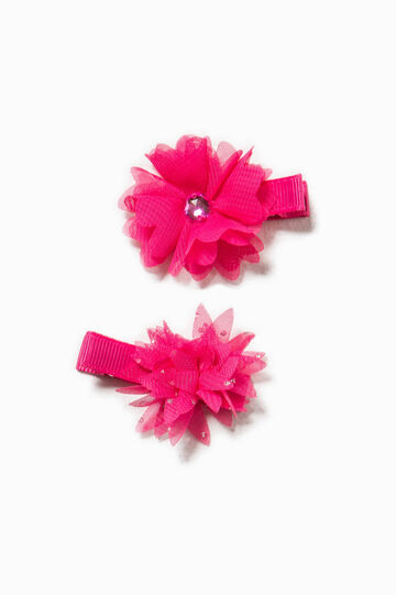 Set of two hair clips with flower, Fuchsia, hi-res