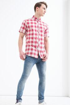 Camicia a quadri in cotone G&H, Bianco/Rosso, hi-res