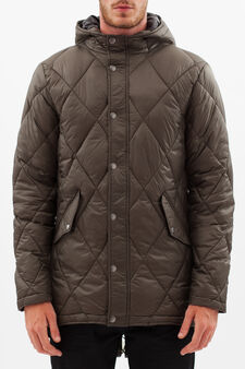 Short down jacket with hood, Army Green, hi-res