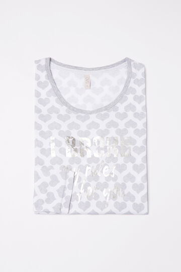 Pyjama top in 100% cotton with hearts, White/Grey, hi-res
