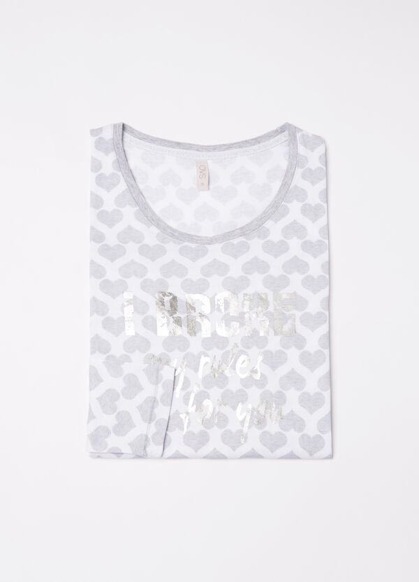 Pyjama top in 100% cotton with hearts | OVS