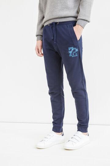 Pantaloni tuta cotone stampa lettering, Blu navy, hi-res