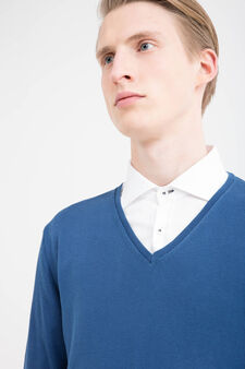 Rumford 100% cotton pullover, Deep Blue, hi-res