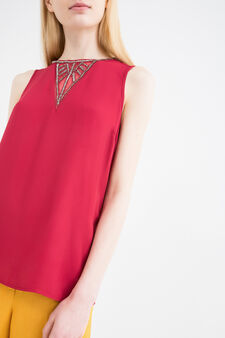 100% viscose blouse with beads, Red, hi-res