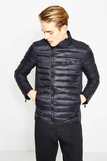 Down jacket with zips on the cuffs, Black, hi-res