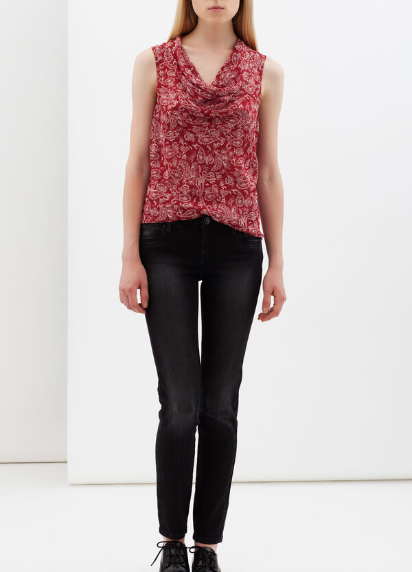 Printed top with draped neck. | OVS