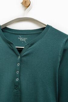 Smart Basic T-shirt with snap-button fastening, Dark Green, hi-res