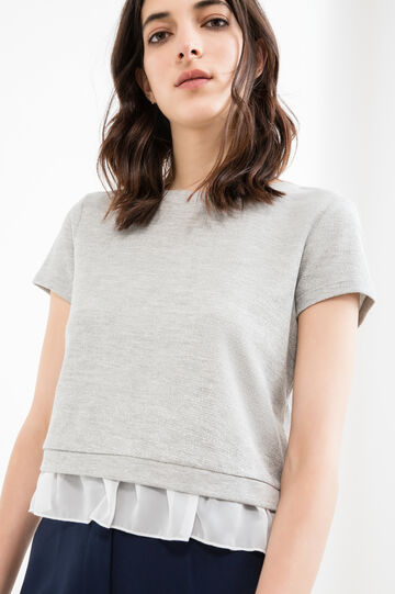 Lurex and cotton T-shirt with frills, Grey Marl, hi-res