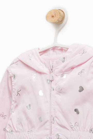 Jacket with all-over print and hood, Pink, hi-res
