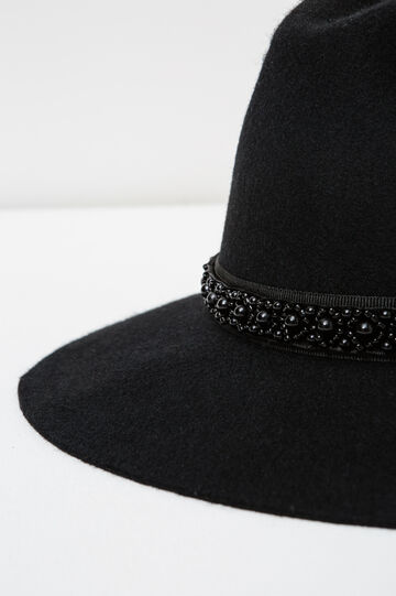 Wide-brimmed hat with band with beads, Black, hi-res