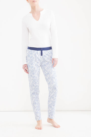 Cotton pyjama trousers with buttons, White/Blue, hi-res