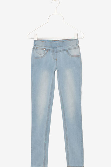 Jeans with elastic waist band., Light Blue, hi-res