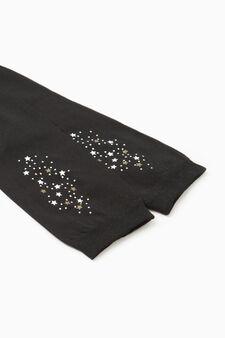 Running tights with printed stars, Black, hi-res