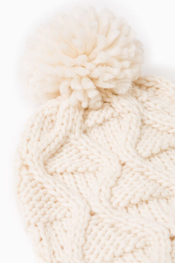 Set consisting of knitted beanie cap and scarf, Cream White, hi-res