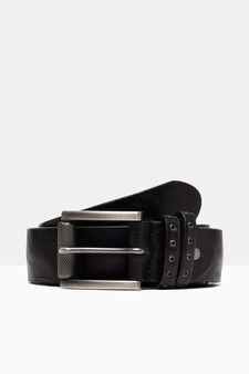 Belt with double loop, Black, hi-res