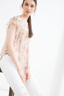 Floral print blouse, Cream White, hi-res