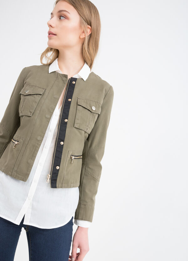 100% cotton jacket with buttons and zip | OVS