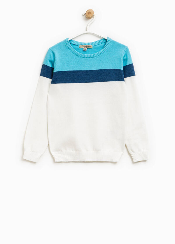 Pullover with top section in contrasting colour | OVS
